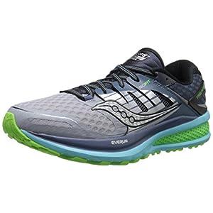 Saucony Women's Triumph ISO 2 Running Shoe, Grey/Blue/Slime, 8.5 M US