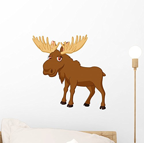 Cute Moose Cartoon Wall Mural by Wallmonkeys Peel and Stick Graphic (12 in H x 12 in W) WM164708 (Moose Cartoon)
