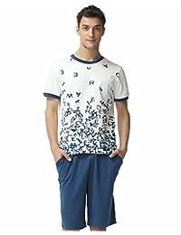 56235a269c QianXiu Short Sleeve Shirt Shorts Sleepwear Knitted Cotton Pajama Set for  Men