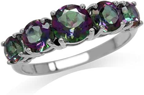 2.78ct.5-Stone Mystic Fire Topaz 925 Sterling Silver Ring