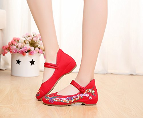 Meta-U Women Embroidered Shoes- Wedge- Canvas- Phoenix Pattern- Mary Jane Shoes Red 40Jt1SHq