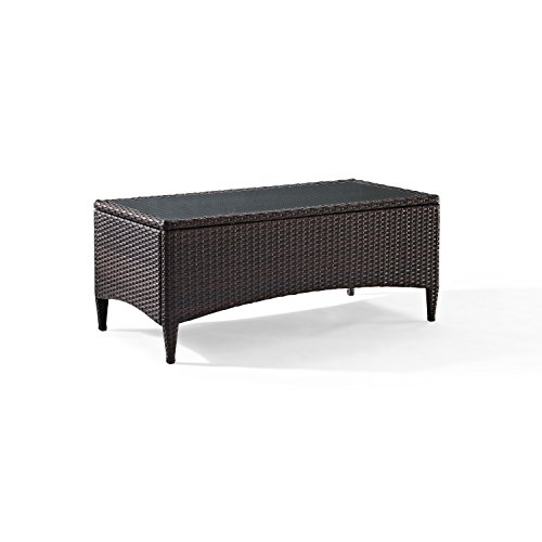 Crosley Furniture Kiawah Outdoor Wicker Table with Glass Top - Brown