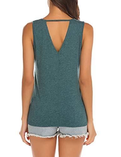 Poetsky Womens Tank Tops Sleeveless Blouse Sport Top Women Keyhole Blouse Sexy Summer Tshirt (XXL, Green) (Cotton Tank)