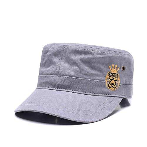 (CLOTIME Visor Flat Hats Cotton Peaked Cadet Corps Army Military Hat Outdoor Sports Adjustable Baseball Cap (Grey))