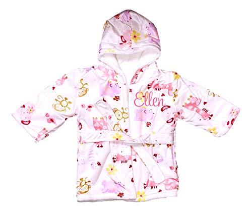Extra Soft Plush Hooded Baby Bath Robe for Infants Toddlers - Can be Personalized (0-9 Months) | Ideal Registry Gift (Pink Giraffe Monkey - Embroidered Name)