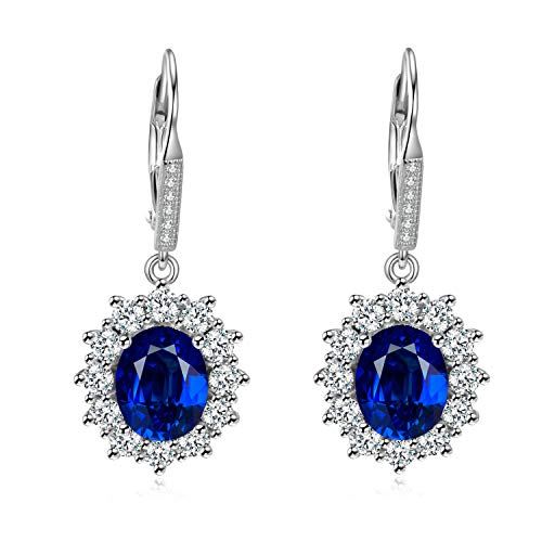 Sapphire & White Topaz Simulated Oval-cut Halo Leverback Dangle Earrings for Women Girls ()