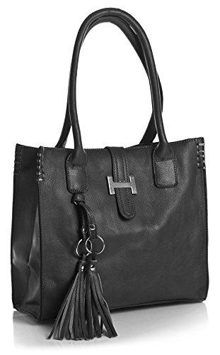 Big Handbag Shop Womens Vegan Leather Medium Size Top Handle Satchel Shoulder Bag in Various Design Design 1 - Dark Grey