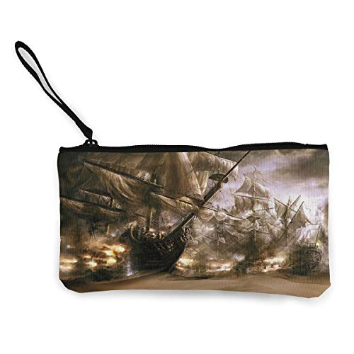 Oomato Canvas Coin Purse Ship Ghost Pirate Cosmetic Makeup Storage Wallet Clutch Purse Pencil Bag]()