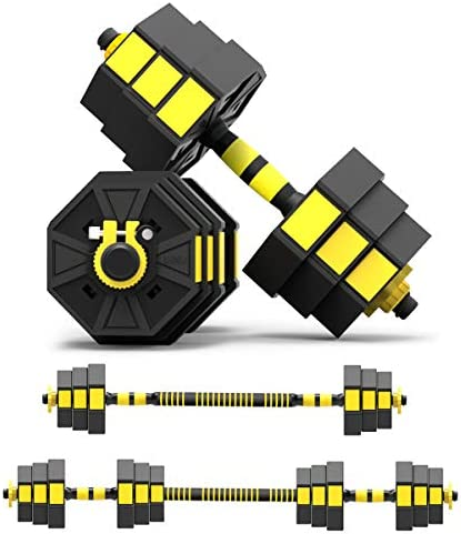 Mikolo Adjustable Dumbbells Barbell 2 in 1 with Connector, Adjustable Dumbbell Barbell Sets Total 44lbs, All-Purpose, Home, Gym Equipment, and Office