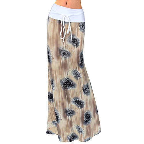 Yoke Waist Skirt - Aisa Women's Colorful Floral Printed Fold Over Drawstring High-Waisted Summer Long Maxi Skirt Size X-Large