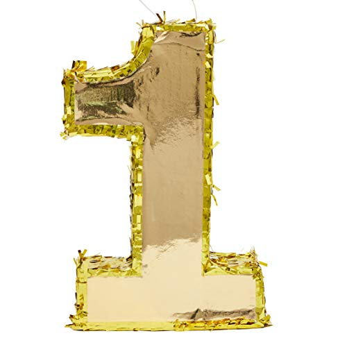 Juvale Small Number 1 Gold Foil Pinata, First Birthday Party Supplies, 16 x 10 x 3 Inches]()