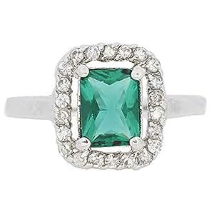 Giro Woman's Alloy Green Stone Ring - G0078-18 mm