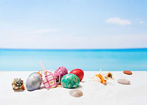(10 x 8 ft Valentine's Day Seaside Blue Backdrop Beautiful Golden Egg Starfish Seashell on the Beach Background for Summer Romantic Wedding Seamless)