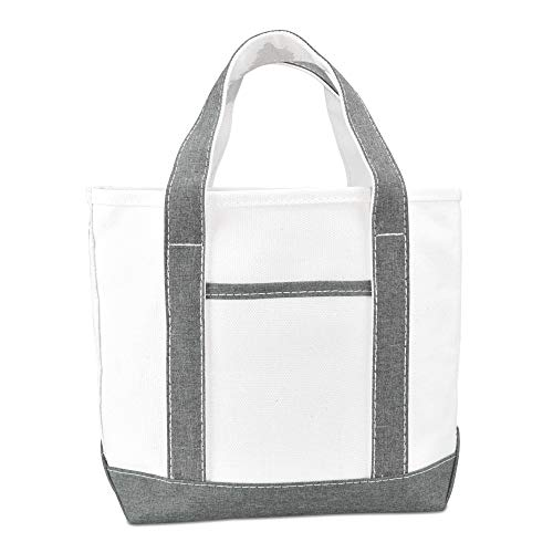 DALIX 14 Mini Small Cotton Canvas Party Favor Wedding Gift Tote Bag (Purple, Pink, Black, Red, Blue, Green, White) (Gray)