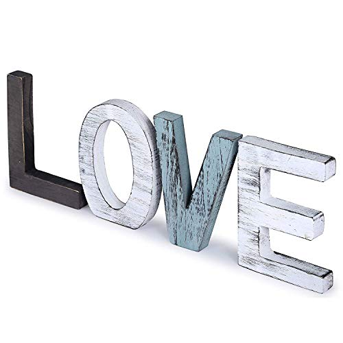 UNIQUELOVER Distressed Wooden Love Signs, Standing Cutout Word Love Sign Wall Decor, Farmhouse Decor, Decorative Letters, Multicolor