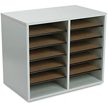 Safco Products 9420GR Wood Adjustable Literature Organizer, 12 Compartment, Gray