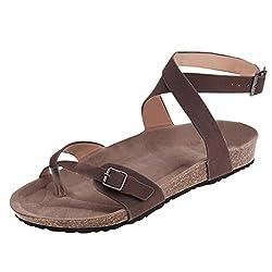 Erlou Spring Summer Fashion Women Ladies Casual Pumps Beach Cross Straps Roman Plat Sandals Slippers Shoes?�� Khaki 42