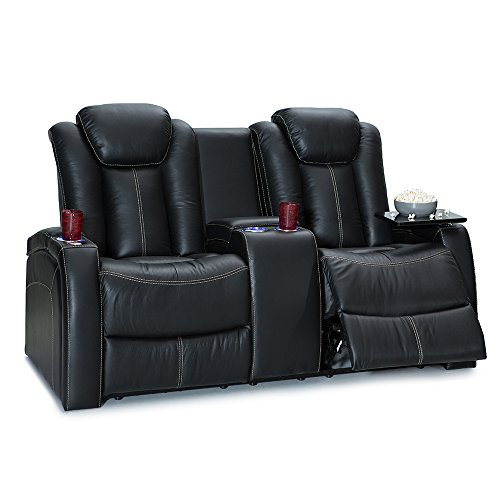 Cheap Seatcraft Republic Home Theater Seating Leather Sofa Loveseat with Power Recline, Adjustable Powered Headrest, Center Storage Console, and Cup Holders, Black