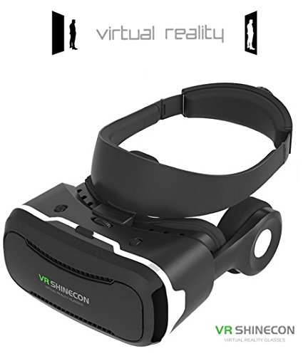 [ 4th Generation ] Virtual Reality Headset, VR Shinecon 4.0, with Stereo 360° Viewing Immersive VR Headset, for iPhone Samsung Android Smart Phone 3D Movies Games Video Glasses (Black) (1)