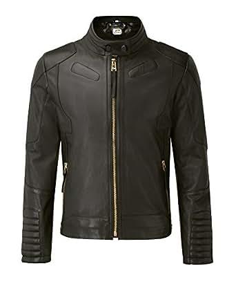 Sputer Velantina Mens Black Biker Leather Jacket Pu Faux Designer Style, Small, Black