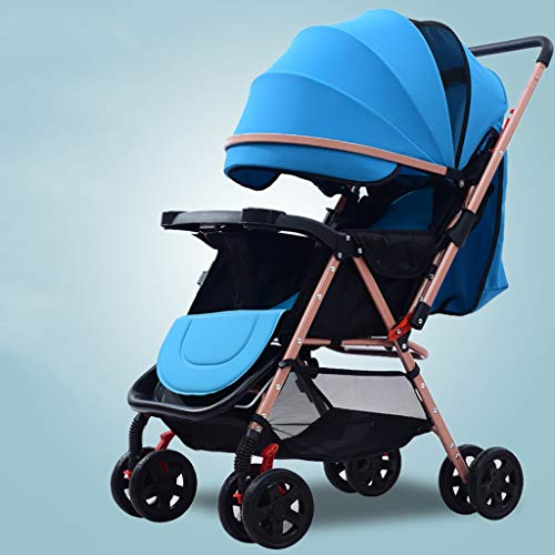 XYSQ Stroller Lightwight Carriage Foldable, The Trolley Type Portable Pram, The High Landscape Can Sit and Lie On The Light Foldable Children's Pushchair (Color : Blue)