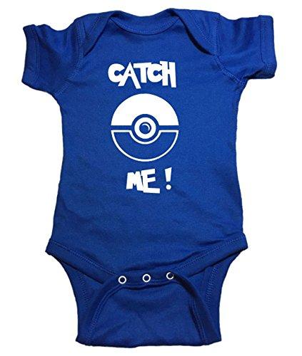 "Price comparison product image Pokemon One Piece ""Catch Me Pokeball Pokemon Go"" Baby Bodysuit (24 Month,  Blue)"