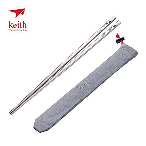 Keith Titanium Ti5633 Solid Square Handle Chopsticks