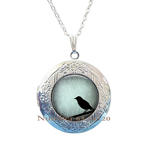 Yijianxhzao Bird Jewelry Blue Bird Pendant Wearable Birds on a Wire blue bird Locket Necklace, blue birds,Round Domed Glass Pendant,BV195 (V1)