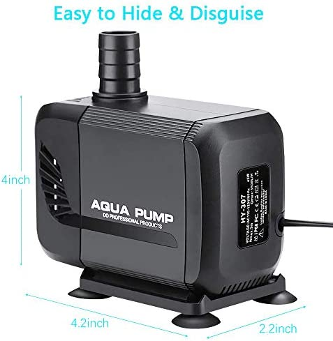 Allnice Submersible Water Pump 880GPH(3500L/H, 45W) Submersible Fountain Pump Outdoor Quiet Water Pump with 6.5ft Power Cord 3 Nozzles for Aquarium Pond Fish Tank Fountain