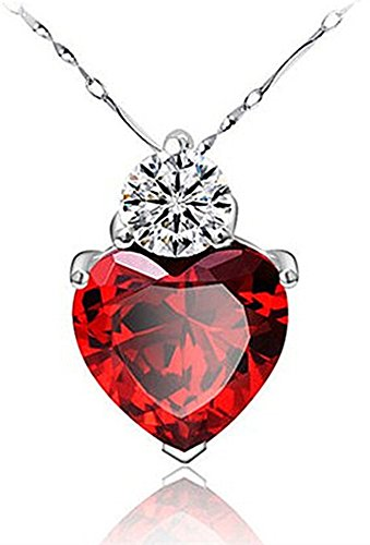 Tyjewelry 14k Gold Plated Crystal Heart Shape Pendant Necklaces for Women (Red,18)