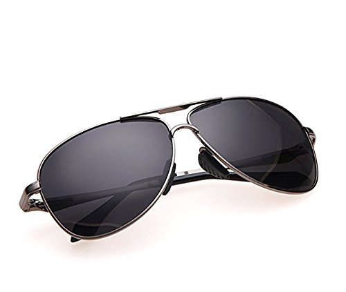 Pro Pilot Sunglasses – Fashionable Polarized Pilot Sunglasses with 400 UV Protections | Luxurious Bayonet Temples Design | Hefty Steel Alloy Frame and 2.4 Inches Anti-Scratch TAC Lenses | Grey | 405.2