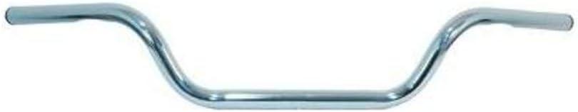 Color: Chrome Handle Bar Size: 1in Chrome Street High Buckhorn Handlebar Emgo 1in 07-12512