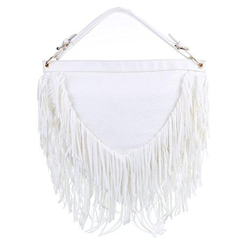 Damen Tasche, Große Schultertasche Mit Fransen, Kunstleder, TA-A1086 Weiß