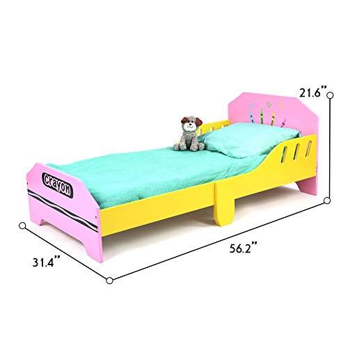 (Toddler Size - Bebe Style Kids Junior Wooden Bed for Children - Crayon Theme - Colorful, Stylish, and Easy to Assemble (Pink))