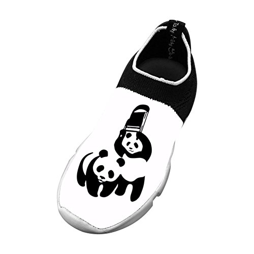 Children's Flyknit Running Shoe Sneakers Two Panda Playing Outdoor Casua Sport Shoes by GCUHDKlo