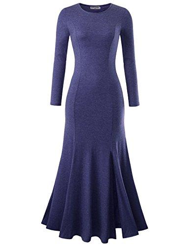 NEARKIN NKNKWLD18 Womens Round Neck Trendy Slit Design Mermaid Maxi Dress Navy US S(Tag Size -