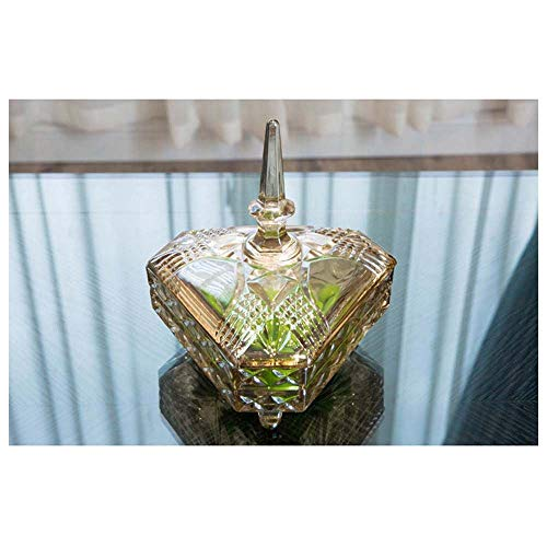 MQW Creative Continental Transparent Crystal Glass Sugar Bowl with Lid Soft Home Decorations Crafts Ornaments Living Room Storage Tank Delicate and Beautiful (Color : Triangle) (Sugar Furniture)