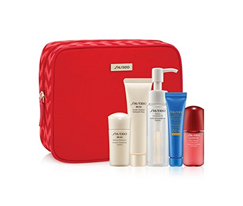 (Shiseido 6-Pc Ibuki Travel Set: Ibuki Refining Moisturizer 15mL, -Ultimune Power Infusing Concentrate 10mL, Ultimate Sun Protection Cream SPF 50+ WetForce 15mL, Perfect Cleansing Oil 40mL, Ibuki Gentle Cleanser)