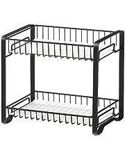 SONGMICS Kruidenrek met 2 niveaus, metalen keukenplank, met kunststof platen, antislipvoetjes, eenvoudig te monteren, voor aanrecht, voorraadkamer, badkamer, keuken