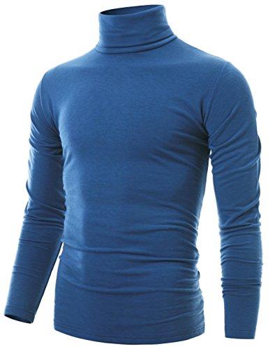 Ohoo Mens Slim Fit Soft Cotton Long Sleeve Pullover Lightweight Turtleneck /DCT001-BLUE-L