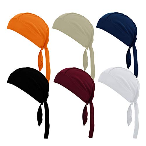 ransiy 6 Packs Soild Color Skull Cap Head Wraps Biker Dew Rag Beanie Cap Hat Chemo Cap for Men and Women