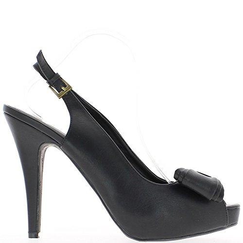 ChaussMoi Sandales Noires Grande Taille à Talon de 14cm et Plateforme avec Noeud