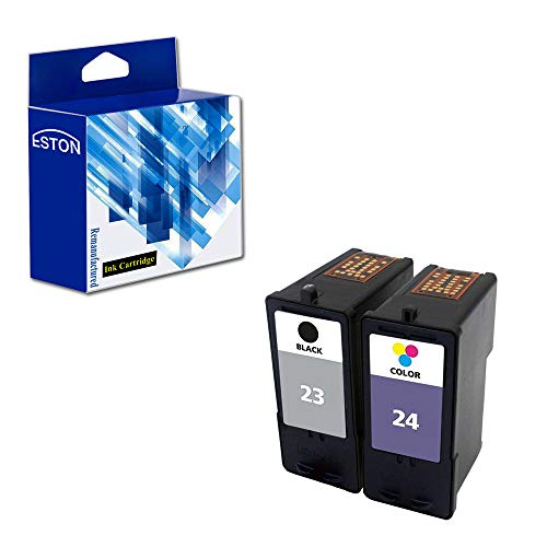 (ESTON Combo Set for Lexmark Ink Cartridges 23 24 Black/Color (2Pack) Fit for Lexmark Printer X3430 X3530 X4530 X4550)