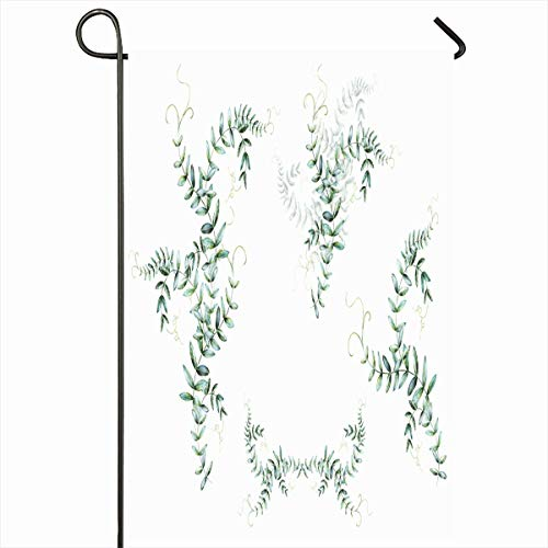 12x18 Inches Gray Bunch Watercolor Branch White Nature Artistic Vintage Cute Drawing Easter Floral Design Revival Outdoor Decorative Seasonal Double Sided Home House Yard Sign ()