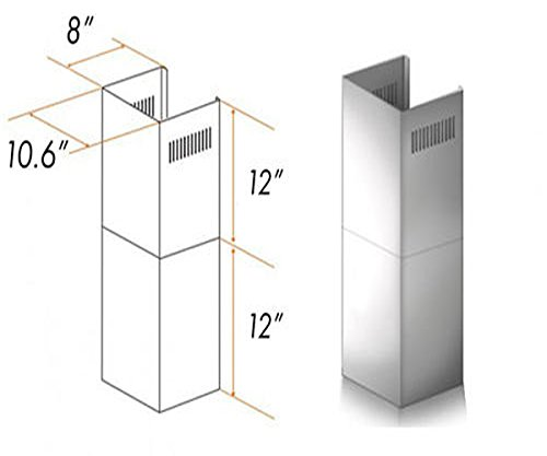 Wall Mount Range Hood Extension for 7 ft to 8 ft Ceilings 2 Pieces - Adjustable Chimney Short Kit - Brushed Stainless Steel - 10-5/8'' W x 12'' H x 8'' D by ZLINE Kitchen & Bath (Image #1)