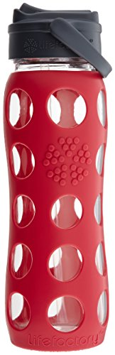 Lifefactory 22-Ounce BPA-Free Glass Bottle with Straw Cap and Silicone Sleeve, Raspberry