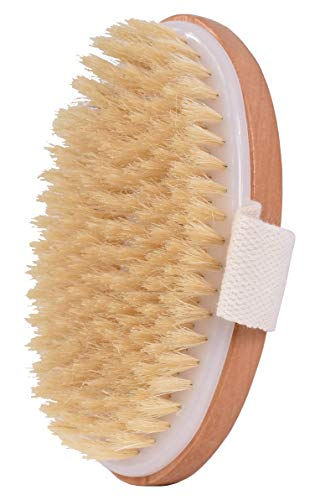 Dry Bath Body Brush Back Scrubber, Improves Skin's Health, 100% Natural Bristles Body Massager, Perfect for Exfoliating, Detox and Cellulite, Blood Circulation, Good for Health and Beauty from FRD