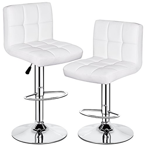 HEALTH LINE MASSAGE PRODUCTS 350 lbs Capacity Set of 2 PU Leather Hydraulic Swivel Gas Lift Height Adjustable Bar Stool White