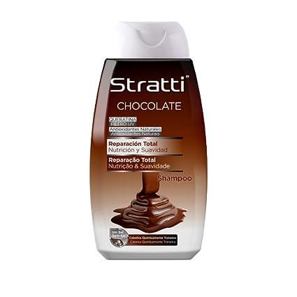 Stratti Chocolate y Keratina - Champú Reparación Total, sin Sal - 400 ml