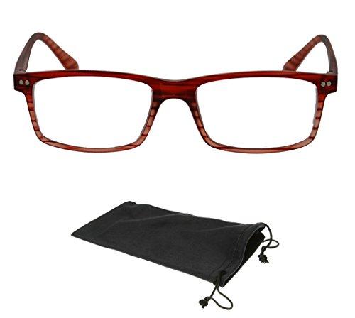 New Brown Designer Square Reading Glasses Womens Mens Readers - Optics Design Readers